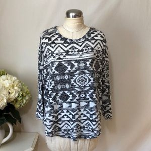 Almost Famous Knit Tribal Print Top